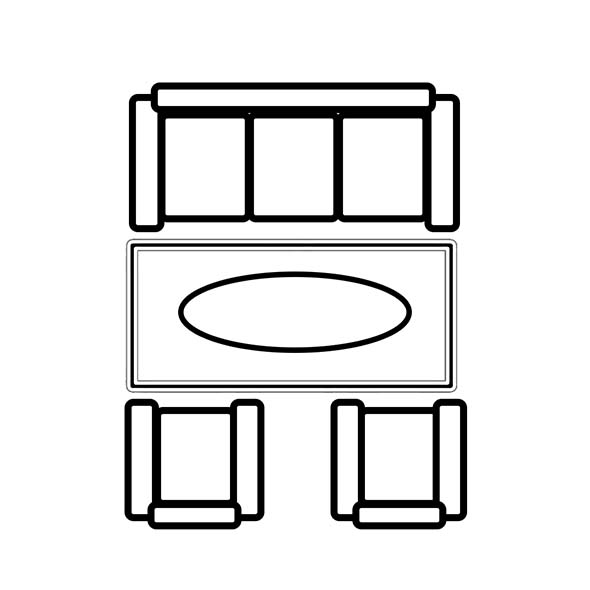 Fristående matta till soffgrupp där endast soffbordet står på mattan.